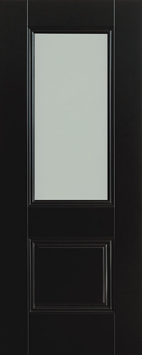 door black Arnhem 1 panel 1 lite opal laminate