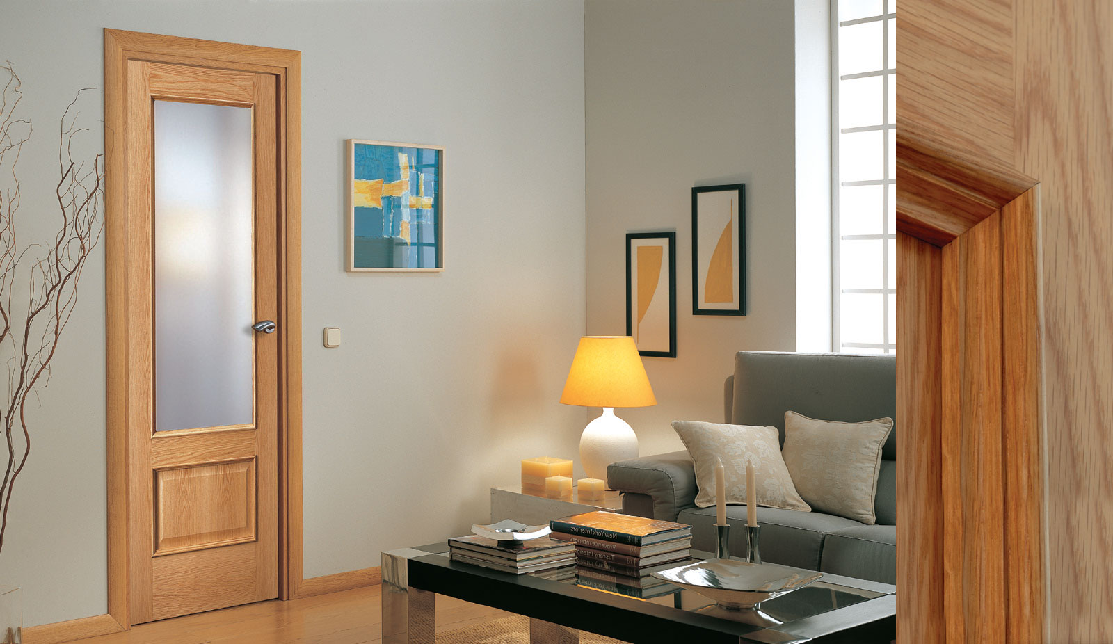 door oak 214 clear glass