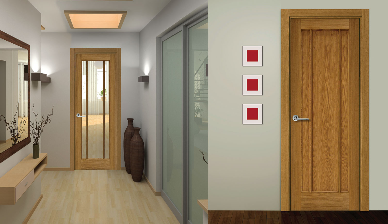 door oak Samoa 3 lite clear and Fiji 3 panel