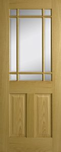 door oak contract 2 panel 9 lite bevelled glass