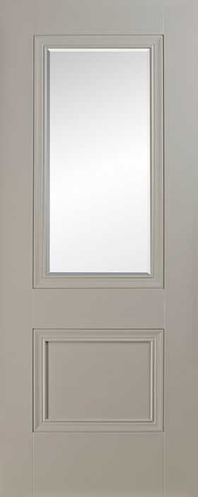 door silk grey Salzburg 1 panel 1 lite clear bevelled glass