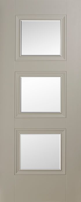 door silk grey Vienna 3 lite clear bevelled glass