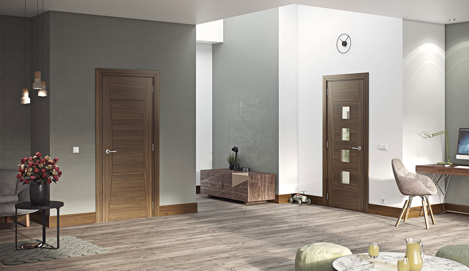 door walnut hp18 hp18g unglazed