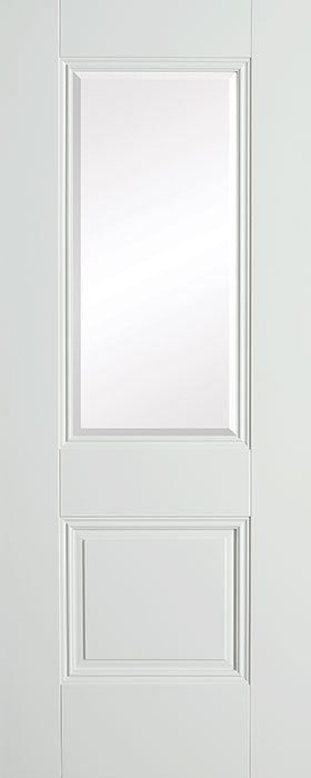 door white Arnhem 1 panel 1 lite clear bevelled glass