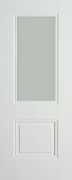 door white Arnhem 1 panel 1 lite opal laminate glass