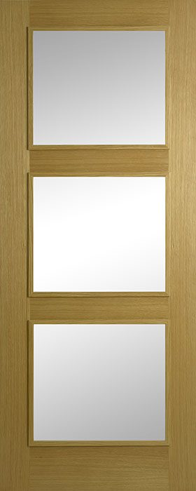 door oak contract 3 lite clear glass