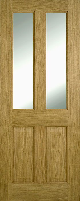 door oak contract 4 panel clear glass