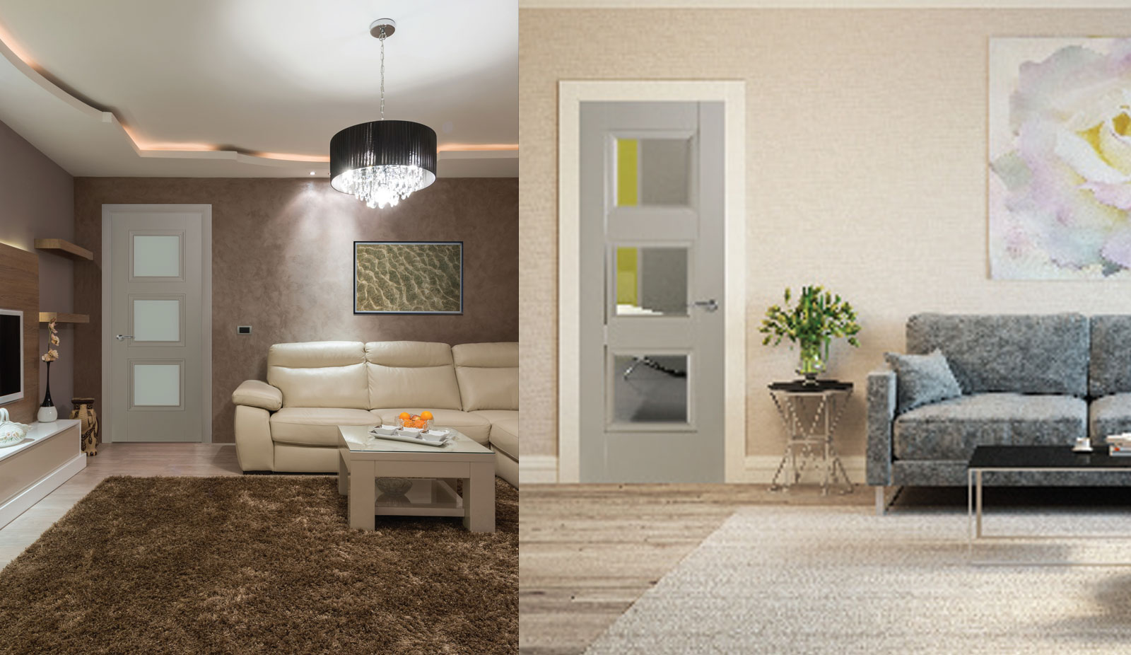 door silk grey Vienna 3 lite opal laminate and clear laminate glass room